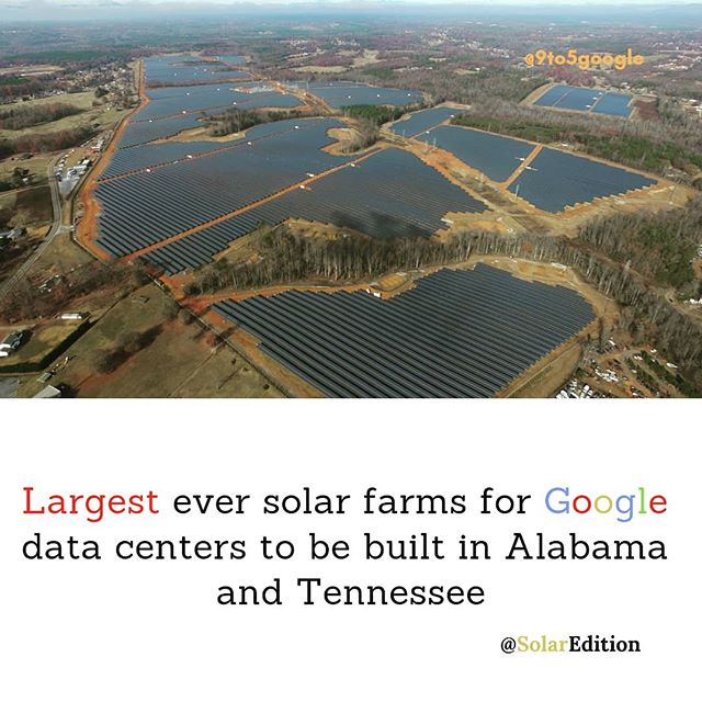 Largest ever solar farms to be built in Alabama and Tennessee for Google data centers