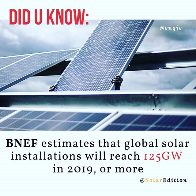 Bloomberg New Energy Finance (BNEF) estimates that global solar installations will reach 125 GW in 2019 or more