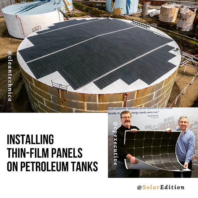 Installing thin-film panels on petroleum tanks