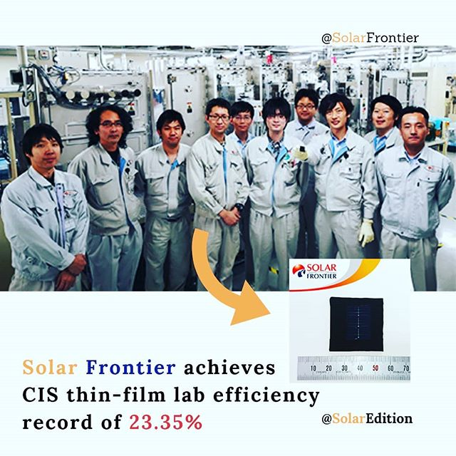 Solar Frontier achieves CIS thin-film lab efficiency record of 23