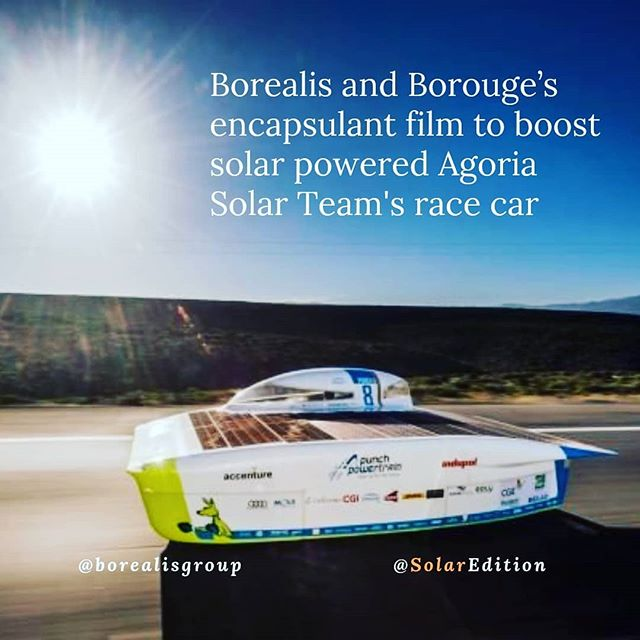 Borealis and Borouge's encapsulant film to boost solar-powered Agoria Solar Team's race car