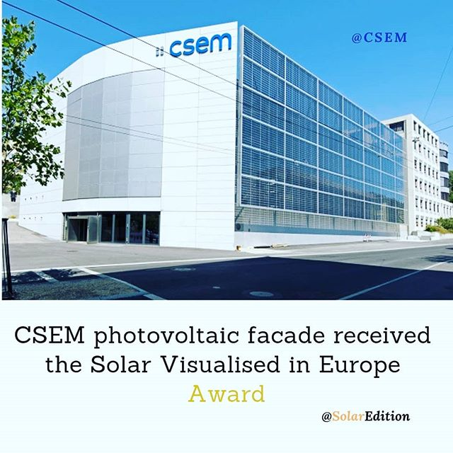 CSEM photovoltaic facade received the Solar Visualised in Europe Award