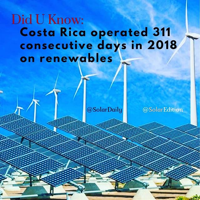 Did You Know: Costa Rica operated 311 consecutive days in 2018 on renewables