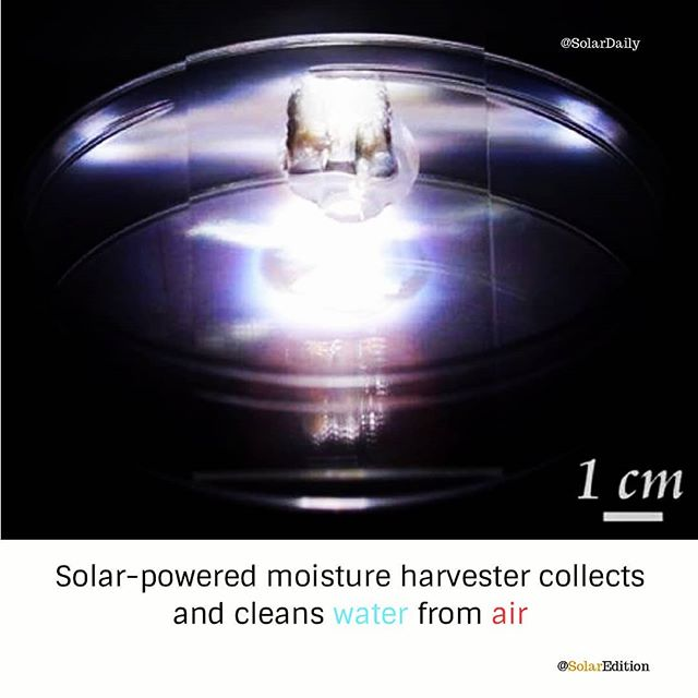 Solar-powered moisture harvester collects and cleans water from the air