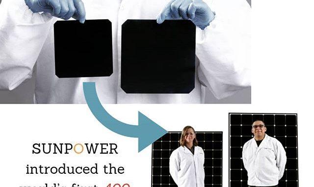 SunPower introduced the first 400-watt residential solar panels |
