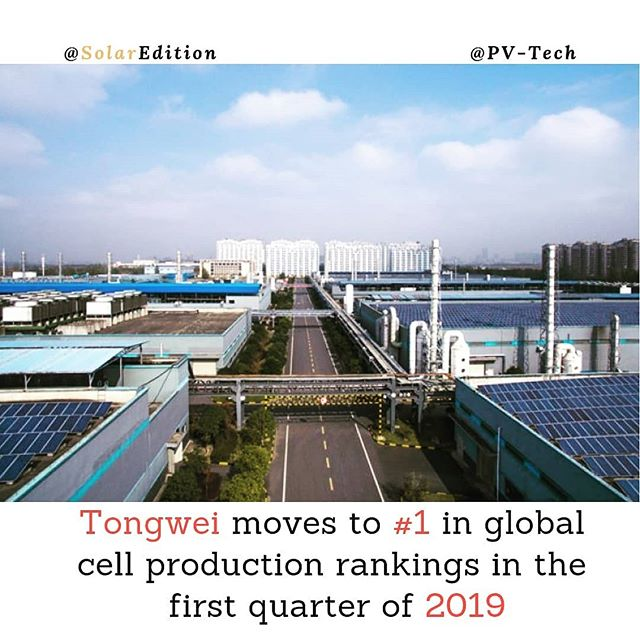 Tongwei moves to #1 in global cell production rankings in the first quarter of 2019