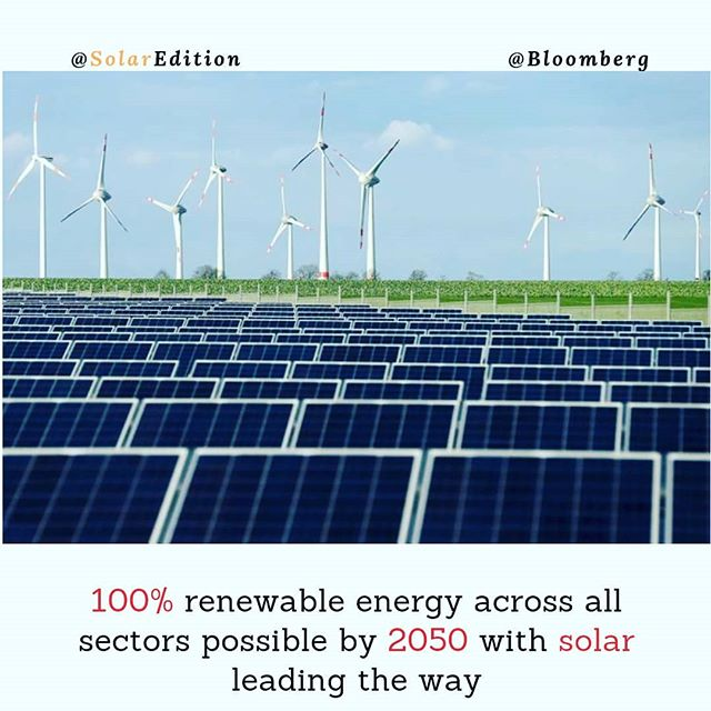100% renewable energy across all sectors possible by 2050 with solar leading the way
