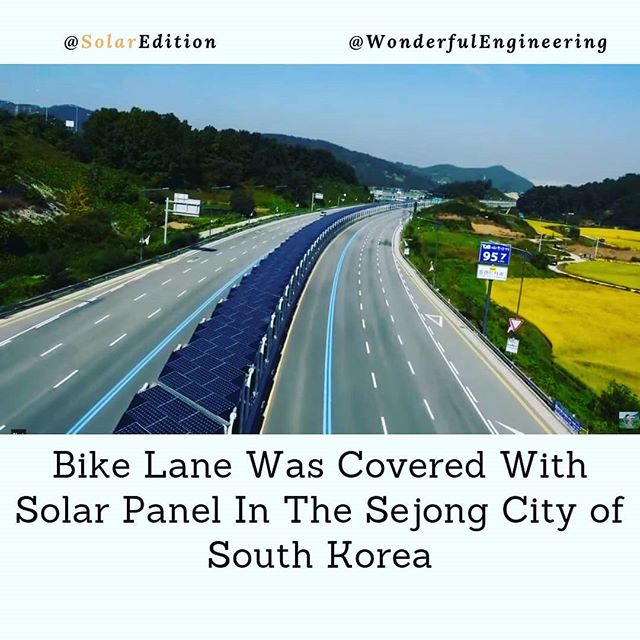Bike Lane Was Covered With Solar Panels In The Sejong City Of South Korea