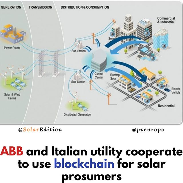 ABB and Italian utility cooperate to use blockchain for solar prosumers