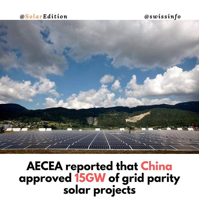 AECEA reported that China approved 15GW of grid parity solar projects