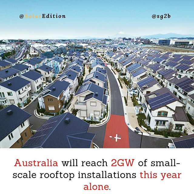 Australia will reach 2 GW of small-scale rooftop installations this year alone
