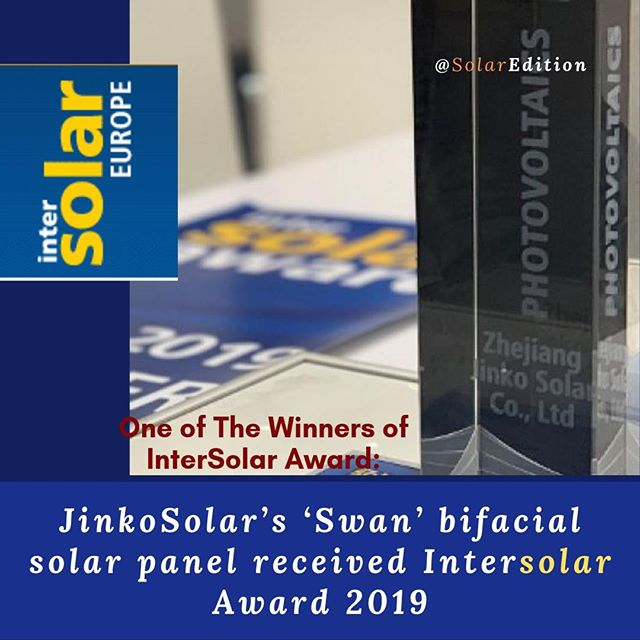JinkoSolar's 'Swan' bifacial solar panel receives Intersolar Award 2019