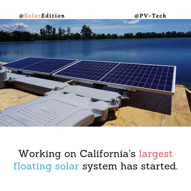 Working on California's largest floating solar system has started