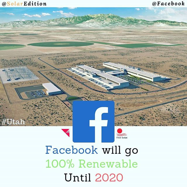 """As Planned, Facebook will go """"100% Renewable"""" Energy Until 2020"""