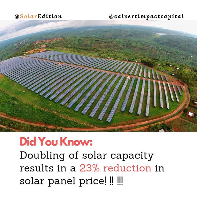 Doubling of solar capacity results in a 23% reduction in solar panel price