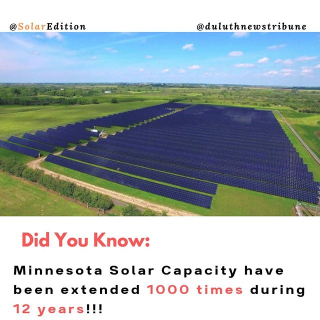 Minnesota's Solar Capacity have been extended 1000 times during 12 years!!