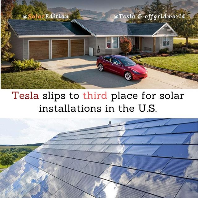 Tesla slips to third place for solar installations in the US