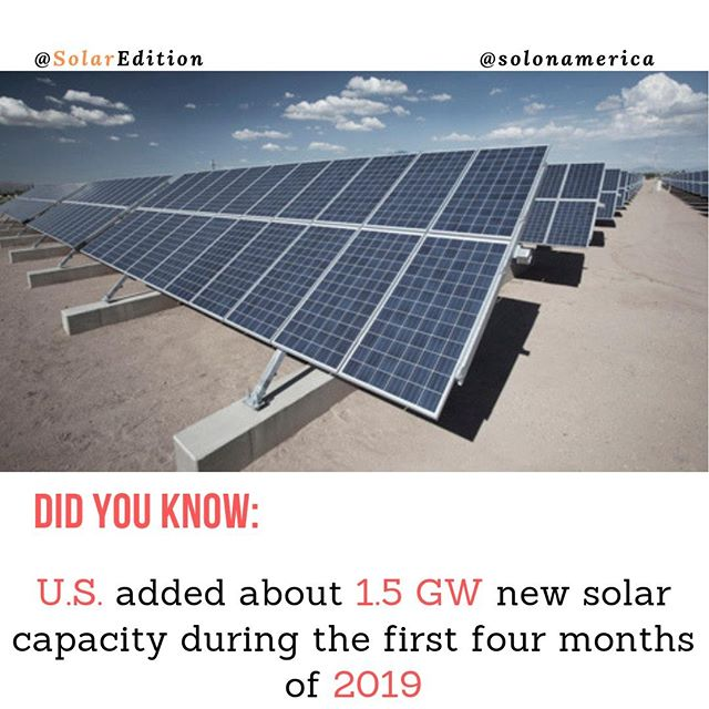 US added about 1,5 GW new solar capacity during the first four months of 2019