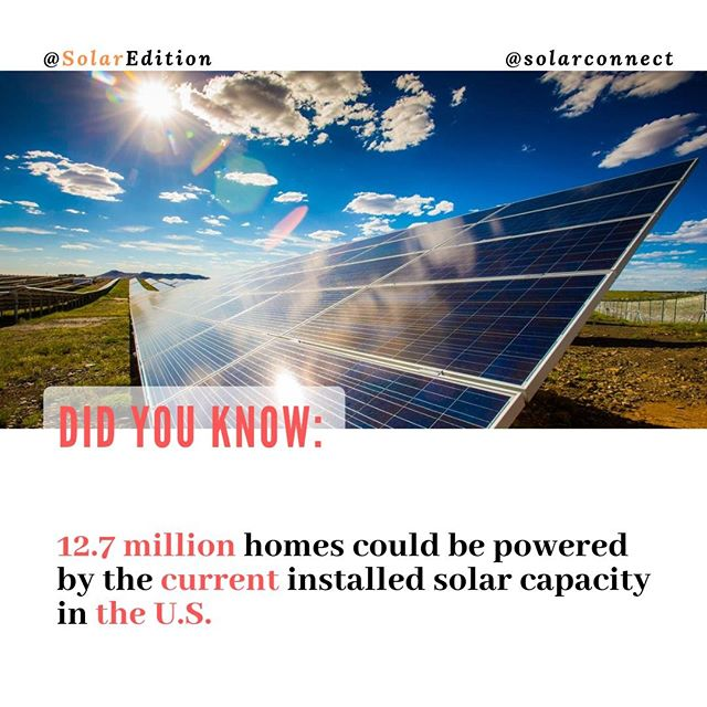 12,7 million homes could be powered by the current installed solar capacity in the US