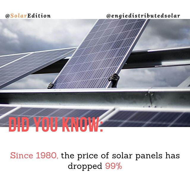 Did You Know: Since 1980, the price of solar panels has dropped 99%