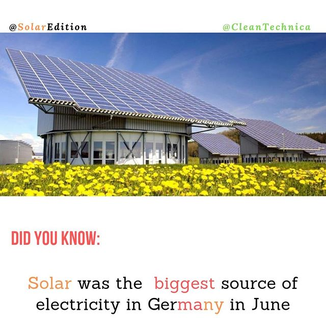 Did You Know: Solar was the biggest source of electricity in Germany in June