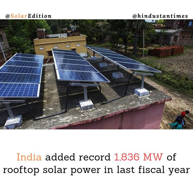 India added record 1,836 Mw of rooftop solar power in last fiscal year