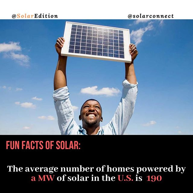 The average number of homes powered by one MW of solar in the US is 190