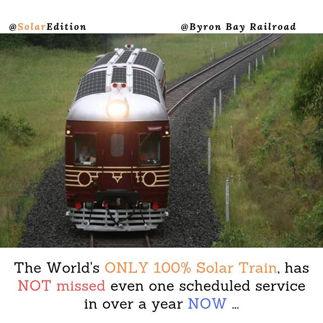 World's ONLY 100% Solar Powered Train Never missed a service over 1 full year